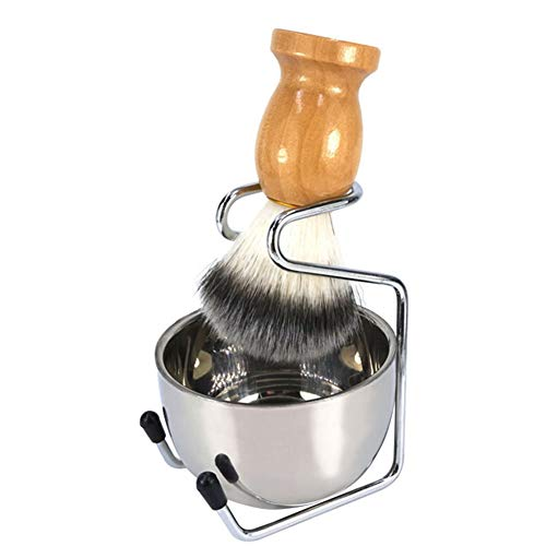Shaving Kit Set for Men, 3 in 1 Pure Badger Hair Shaving Brush with Natural Solid Wood Handle + Stainless Steel Shaving Stand + Shaving Bowl (Best Value Badger Shaving Brush)