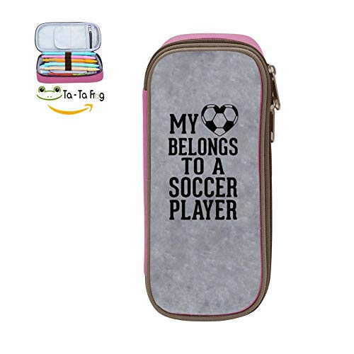 Big Capacity Canvas Pencil Box Multi-Colored for Women,Print My Heart Belongs to A Soccer Player,Pink