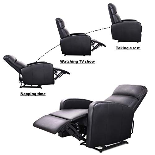 Giantex Manual Recliner Chair Pu Leather Padded Seat