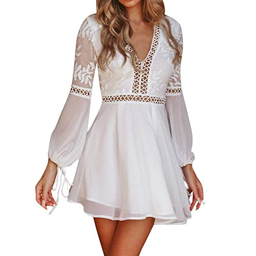 (JESPER Women Solid V-Neck Lace Patchwork Long Sleeve Backless Beach Party Bandage Mini Dress White)