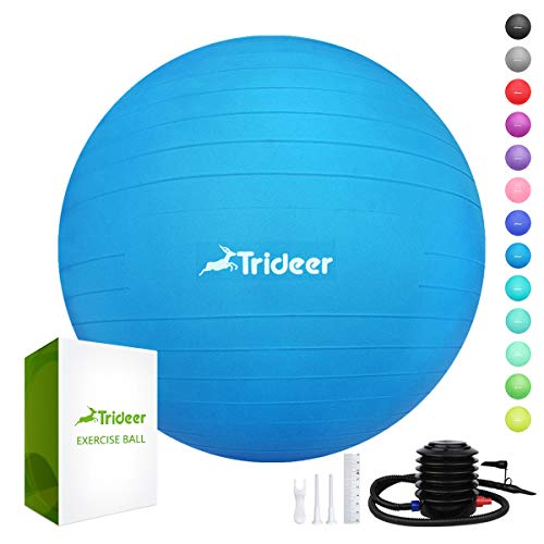 Trideer Exercise Ball (45-85cm) Extra Thick Yoga Ball Chair, Anti-Burst Heavy Duty Stability Ball Supports 2200lbs, Birthing Ball with Quick Pump (Office & Home & Gym) (Air Pump Exercise Ball)