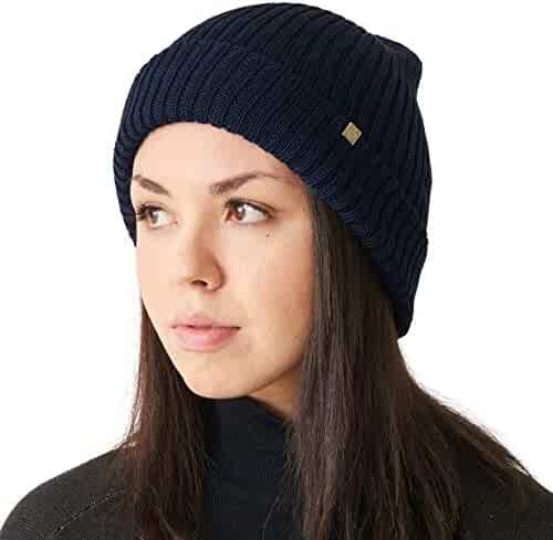 ae520c066d6 CHARM Mens Chunky Silk Beanie - Womens Soft Slouchy Winter Knit Hat  Oversized Chemo Cap