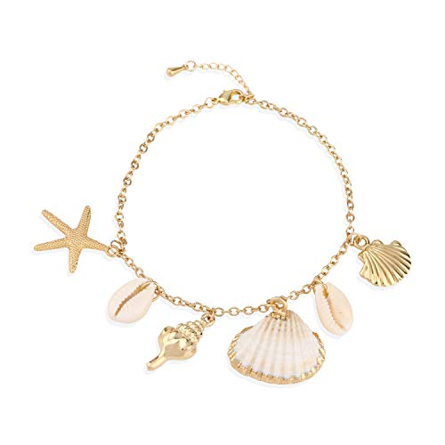 Shell Anklet Bracelet, Natural Shell Gold Women Anklet Dainty Chain Anklet Set Boho Charm Anklet Conch Jewelry