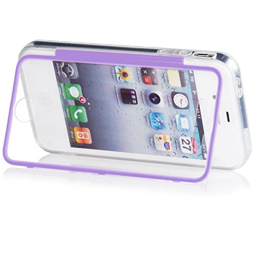 Apple iPhone 4 / 4S | iCues despejan el caso de TPU púrpura | luz extra lámina transparente muy fina protector exterior gruesa dura de la caja a prueba de golpes 360 grados Pantalla de cuerpo completo Claro Lila