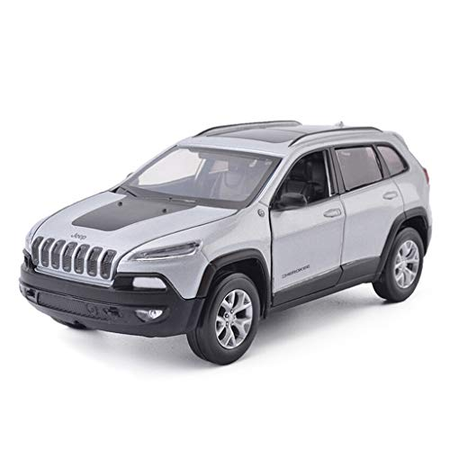 LBYMYB Car Model 1:32 Jeep Cherokee Simulation Alloy Die-Casting Toy Ornaments Sports Car Collection Jewelry 15.5x6x6CM (Color : Gray)
