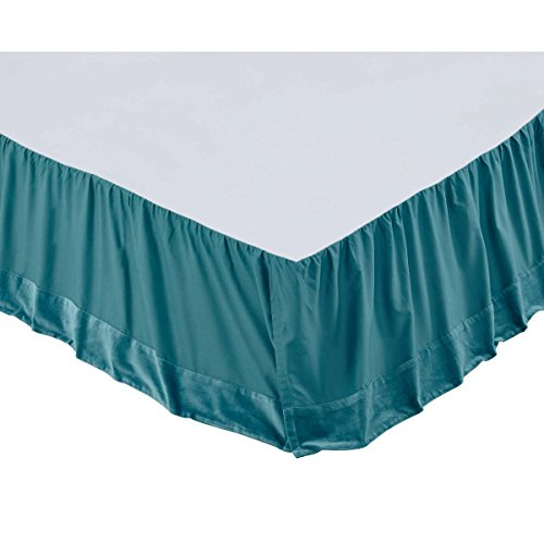 VHC Brands Eleanor Teal Twin Bed Skirt (Eleanor Cotton Skirt)
