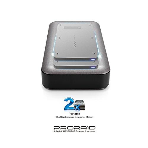 "Mediasonic ProRaid USB-C 2 Bay 2.5"" SATA SSD / Hard Drive Enclosure – USB 3.1 Gen-II 10Gbps Speed / USB Type C (HUR6-SU31C Grey) by Mediasonic (Image #4)"