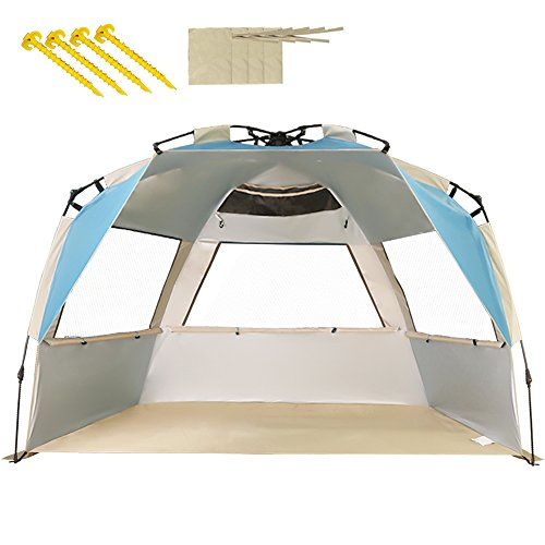 VCOSTORE Beach Tent Large Instant Beach Shelter 4 People with Sun Protection Design, Pop Up Waterproof Sun Shelter for Fishing Beach Adults Family(Lake Blue)