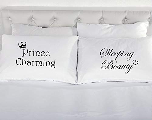 Prince Charming Sleeping Beauty Pillowcases Pair of Pillow Cases Wedding Present Gift Novelty Bedding