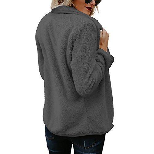 Outcoat Coat Sólido Pelo Suelto Mujeres Gris De Señoras Invierno Otoño Y Cárdigans Largos Moderno Color Fiesta Solapa Abiertas Lana Parkas De Casual Cardigan Abrigos Las Elegantes Manga I6wHBqI