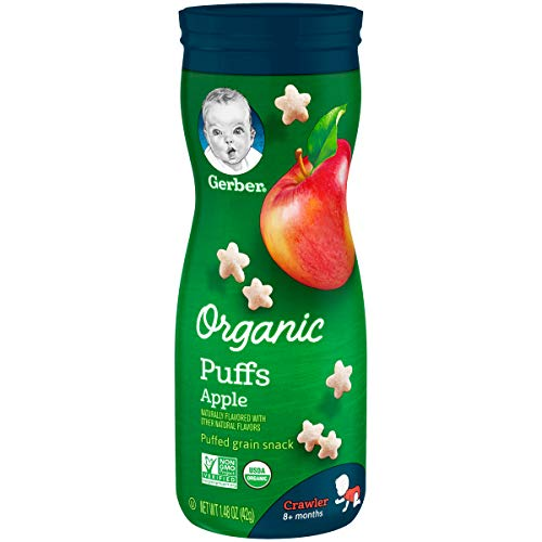 Organic Puffs - Gerber Organic Puffs Cereal Snack, Apple, Naturally Flavored with Other Natural Flavors, 1.48 Ounce, 6 Count