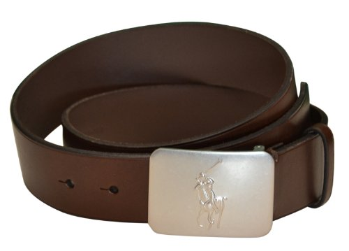 Ralph Lauren Plaque Belt (Men's Polo Ralph Lauren Pony Plaque Leather Belt-Brown (Sz 38))