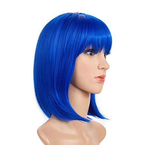 BeliHair Blue Costumes Wigs for Women Short BOB Straight Synthetic Hair Wig with Flat Bangs for Cosplay Halloween Party Hot Natural As Real Hair + Free Wigs Cap 12 inch]()
