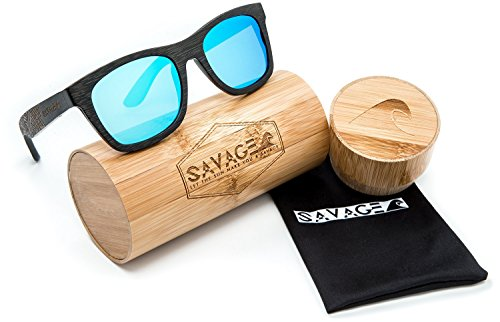 SAVAGE original bamboo wayfarer polarized sunglasses - handmade! (Black Engraved Frame, Blue Mirror - Wayfarer Mirror Sunglasses