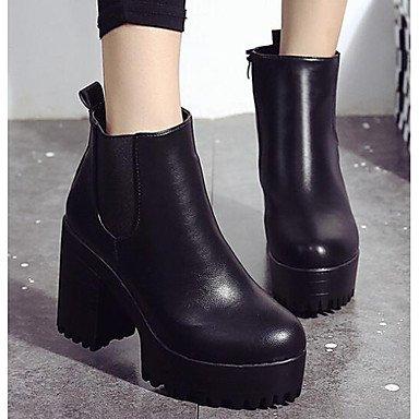 2'5 Moda Mujer Invierno De Cms amp;xuezi Pu Casual Cuero Confort Menos Borgoña Black Real Gll Botas Negro IxX6wzw5