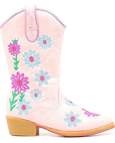 Blazin Roxx Girls' Daisy Floral Embroidered Cowgirl Boot Snip Toe Pink 2 D(M) (Pink Cowgirl Boots Girls)