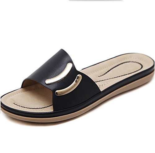 Chaussures Femmes Taille Métal Plage pour De Noir en XIAOQI Chaussures Femmes Pantalons Bohème D'été Sandales Femmes Mode Pantoufles Sandales Grande Pieds Comfort Boutons pqUw7nxf6