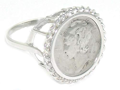 (Flintski Jewelry Sterling Silver Ladies High Rise Mercury Dime Coin Ring 5-12 (6))