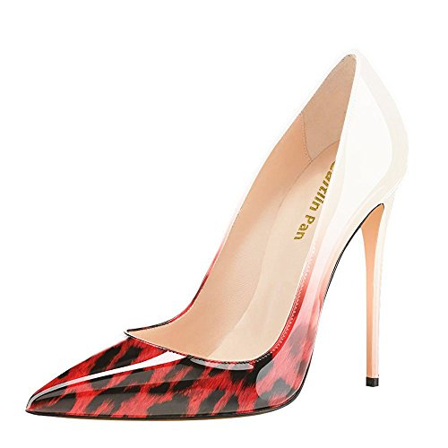 45 Heel Leopard Dress Eu Caitlin Red Shoes Col Slip On Pumps Size 35 Formal High Pan Donna Stiletto Pointed Toe Scarpe Tacco 1qSUv