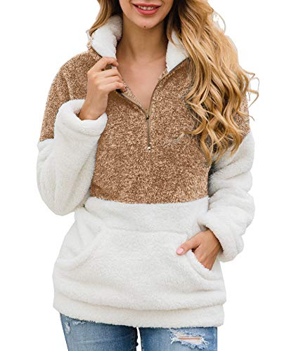 BTFBM Women Long Sleeve Zipper Sherpa Sweatshirt Soft Fleece Pullover Outwear Coat with Pockets (Brown, Medium)