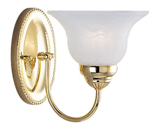 Livex Lighting 1531-02 Edgemont Single Light Wall Sconce Polished Brass with White Alabaster Glass Brass Alabaster White Glass
