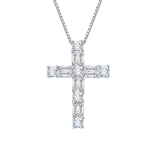 - KATARINA Round and Baguette Cut Diamond Cross Pendant Necklace in Sterling Silver (1/4 cttw, G-H, I2-I3)