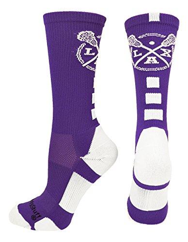MadSportsStuff LAX Lacrosse Socks with Lacrosse Sticks Athletic Crew Socks (Purple/White, Medium)
