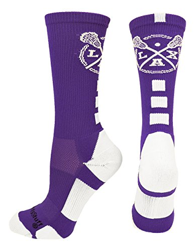 LAX Lacrosse Crew Socks (Purple/White, Small) from MadSportsStuff