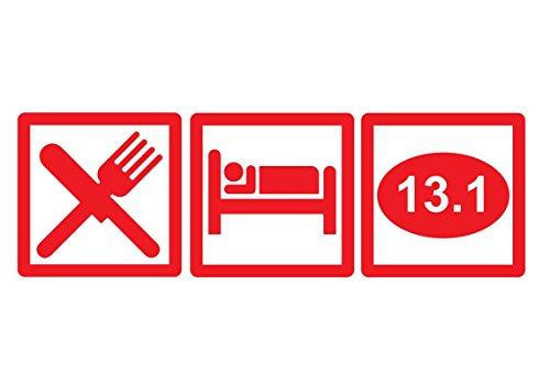 DD645R Eat Sleep 13.1 Half Marathon Decal Sticker | 7.5-Inches By 2.5-Inches | Premium Quality Red Vinyl