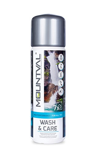 Mountval Wash & Care, performance wash-in cleaner for technical and wet weather clothing and equipment with climatic membranes, including GORE-TEX by Mountval