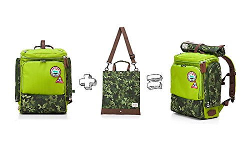 Muster bag Kids Backpack + Cross Bag Set - Trendy Camouflage Pattern School Backpacks For Girls Boys Kids Elementary Middle School Bags Cute Bookbag Outdoor Daily bag (Green) by Muster bag (Image #2)