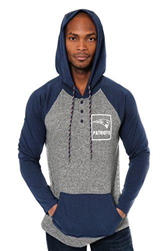 (Icer Brands NFL New England Patriots Men's Fleece Hoodie Pullover Sweatshirt Henley, X-Large, Navy)