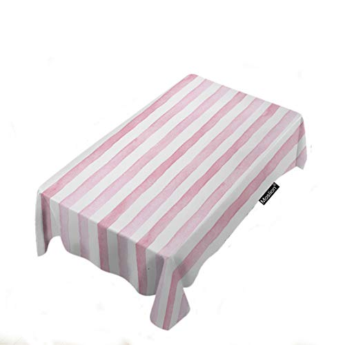 Moslion Striped Tablecloth Home Decor Cute Pink White Stripes for Lovers Valentine's Day Wedding Tablecloth Polyester Fabric Rectangle Decorative Table Cover for Picnic Outdoor 60x120 ()