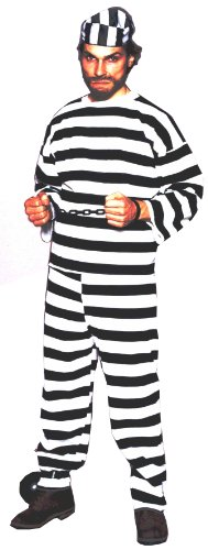 Jail Costumes For Halloween (Forum Deluxe 3-Piece Prison Convict Costume, Black/White, One Size)