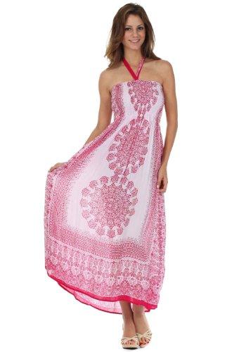 Sakkas 5636 Mehndi Henna Smocked Bodice Maxi Dress - Pink - One Size