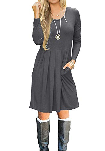 Womens Empire Waist Long Sleeve Loose Swing T-Shirt Dress Dark Gray L