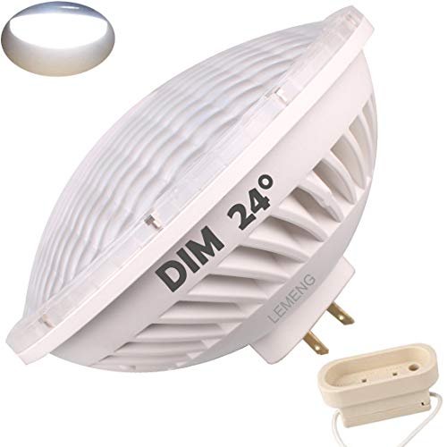 LeMeng Par56 LED Bulb Dimmable 28W Cool Day White Spot Light 6000K NSP 24°Beam Angle GX16D Base, Replace Par 56 300W Halogen Light AC120V ()