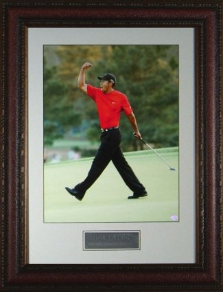 Tiger Woods unsigned 2005 Masters at Augusta Fist Pump 11X14 Photo Leather Framed - Framed Golf Photos, Plaques and Collages