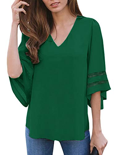 (Umeko Womens Sexy V Neck Chiffon Blouses Tops Oversized Long Lantern Sleeve Pullover Shirts (Medium, Z-Green))