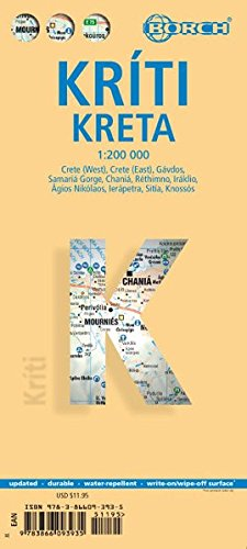 Kreta: 1:200 000. Einzelkarten: Crete (West) 1:200 000, Crete (East) 1:200 000, Iraklio 1:7 000, Agios Nikolaos 1:6 000, Chania 1:10 000, Ierapetra ... Sitia 1:7 000, Gavdos 1:200 000 (Borch Maps)