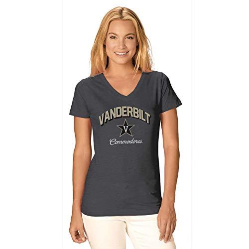 Camp David Vanderbilt Commodores Womens Dedicated Fan Signature Diva V-Neck - Charcoal, Womens Medium