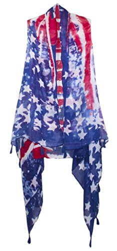101 BEACH Women's Summer American Flag USA Beach Cover up with Tassels