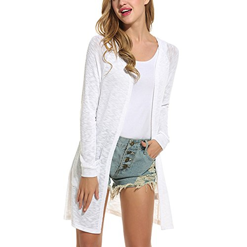 FARCOKO Brand Wool Cardigan New Fashion Women Casual Translucent Style Hip Length Loose Fit Long Sleeve Knitted Cardigan Sweater (White, XL) by FARCOKO