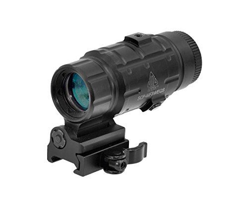 UTG 3X Magnifier with Flip-to-side QD Mount, W/E Adjustable (Best Red Dot Magnifier For The Money)