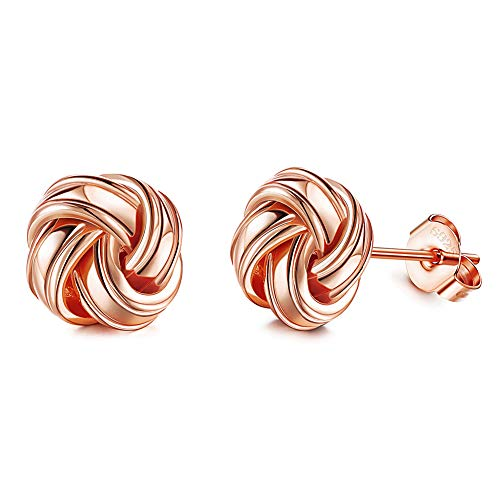 Sllaiss Sterling Silver Love Knot Stud Earrings for Women Rose Gold Plated Hypoallergenic S925 Ear Jewelry 10mm Twisted Woven Love Knot Stud Earrings