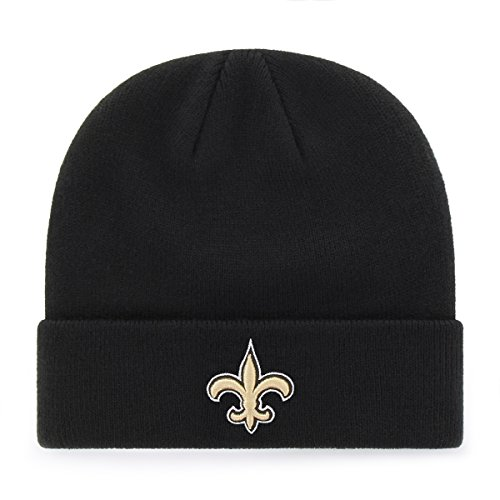 OTS NFL New Orleans Saints Raised Cuff Knit Cap, Black, One Size ()