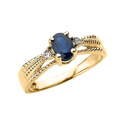 Solid-10k-Yellow-Gold-Elegant-Blue-Sapphire-and-Diamond-Proposal-Ring