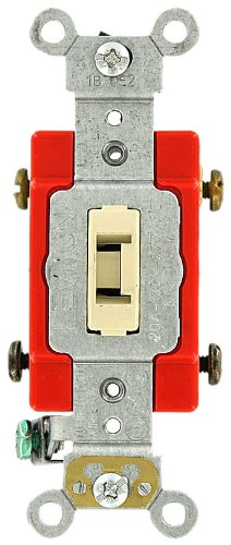 Leviton 1222-2IL 20 Amp, 120/277 Volt, Toggle Locking Double-Pole AC Quiet Switch, Extra Heavy Duty Grade, Self Grounding, Back and Side Wired, Ivory
