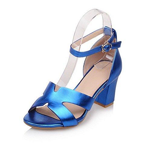 AllhqFashion Mujeres Pu Tacón ancho Puntera Abierta Sólido Hebilla Sandalia Azul