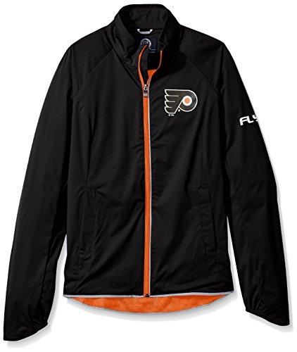 GIII For Her NHL Philadelphia Flyers Women's Batter Light Weight Full Zip Jacket, Large, Black